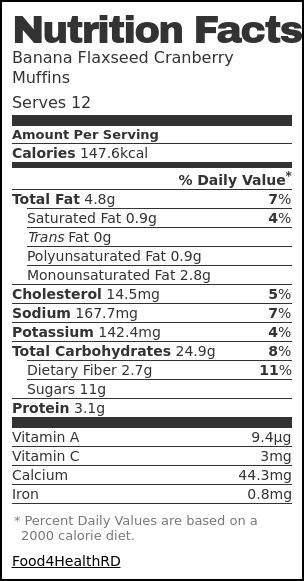 Nutrition label for Banana Flaxseed Cranberry Muffins