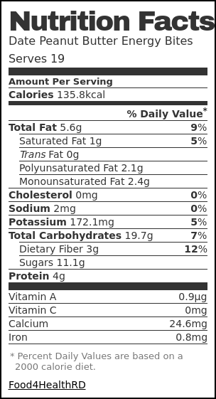 Nutrition label for Date Peanut Butter Energy Bites