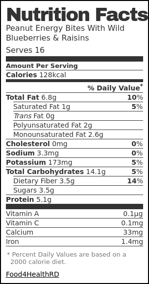 Nutrition label for Peanut Energy Bites With Wild Blueberries & Raisins