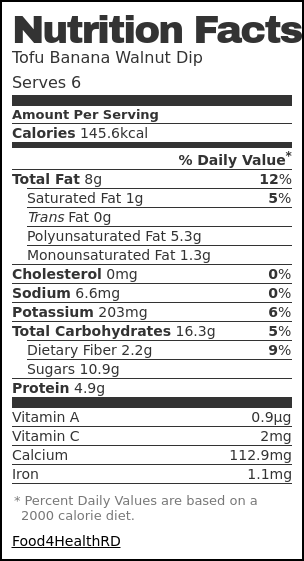 Nutrition label for Tofu Banana Walnut Dip