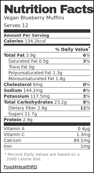 Nutrition label for Vegan Blueberry Muffins