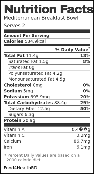 Nutrition label for Mediterranean Breakfast Bowl
